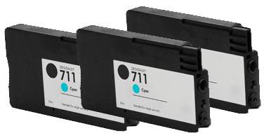 Тройная упаковка совместимых картриджей HP 711C x3 CZ134A голубой