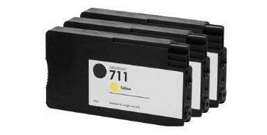 Тройная уп. совместимых картриджей HP 711Yx3 CZ136A желтый
