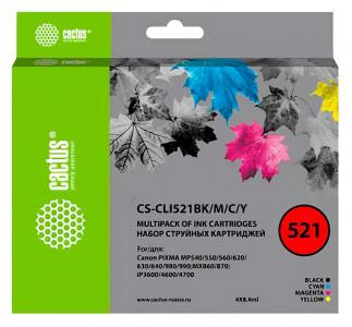 Набор совместимых картриджей Cactus CS-CLI-521CMYK 2933B004-2936B004
