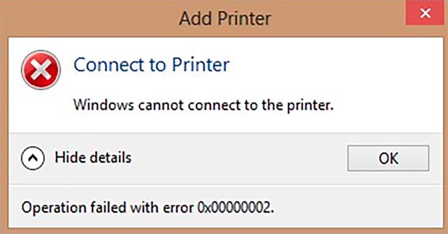 Ошибка 0x00000002 при подключении к сетевому принтеру