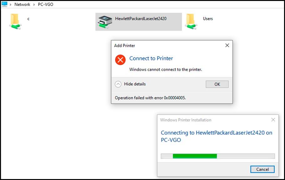 Ошибка подключения к принтеру 0x00004005