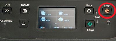 контрольная панель принтера canon
