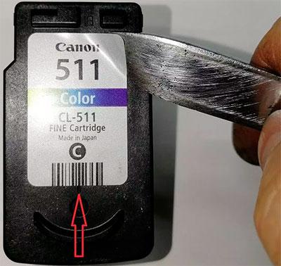где найти отверстия для заправки картриджей Canon